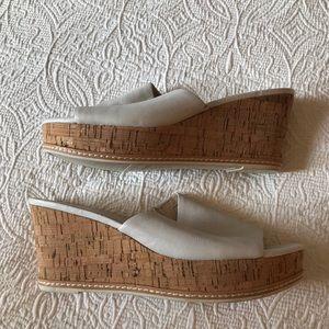 Franco Sarto White Leather Mules Slides Cork 13M
